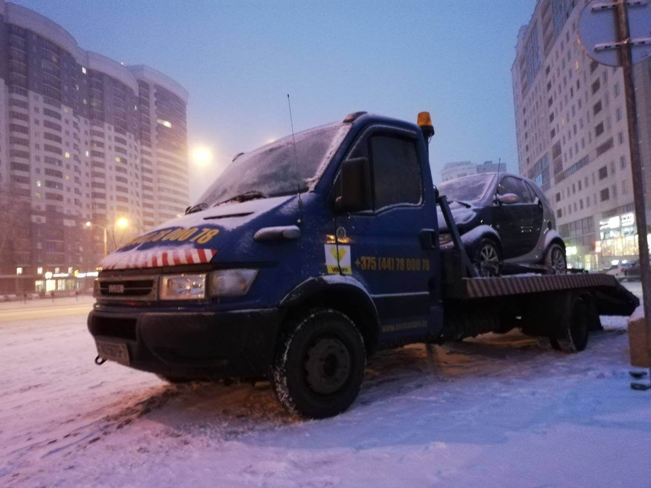Эвакуатор для легкового авто зимой
